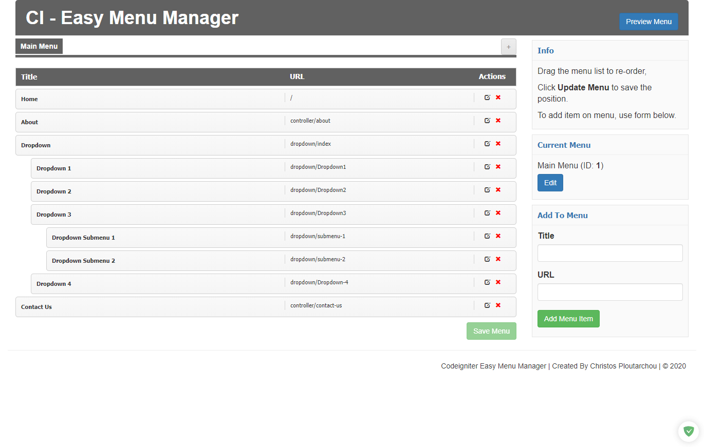 Codeigniter With Menu Manager Pre-installed